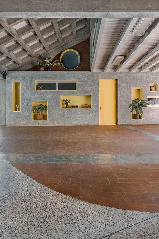 suelo de granito curvo comedor escuela venezuela atelier caracas diariodesign