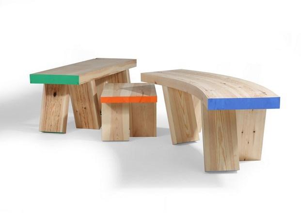 bench gang bancos curvos de madera talento joven en imm cologne diariodesign