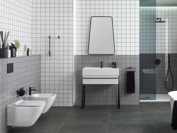 Baño blanco y gris Porcelanosa diariodesign