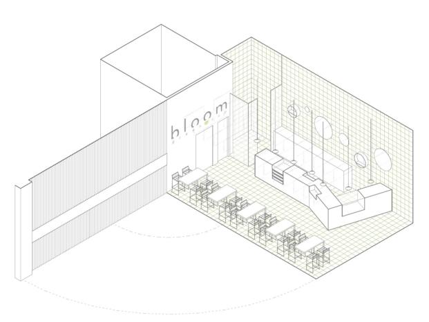 bloom cafe barakaldo garmendia cordero arquitectos diariodesign axonometria