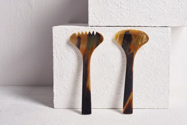 utensilios para servir ensalada de cuerno - diariodesign