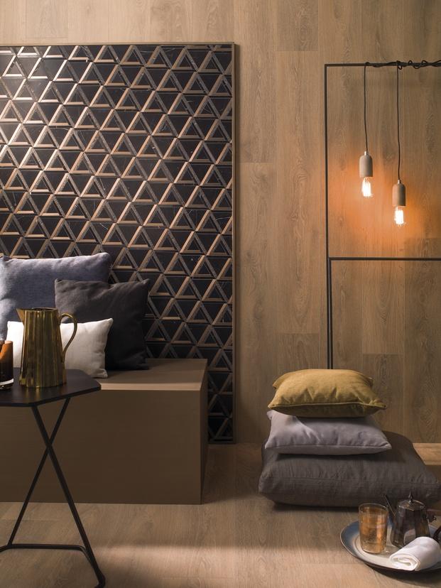 Cerámica sobre pared y madera  Porcelanosa Diariodesign