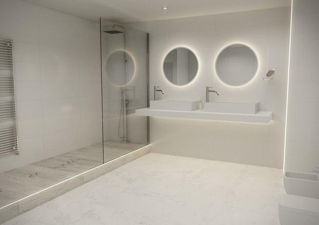 Lavabo blanco con perfiles de luz Porcelanosa Diariodesign