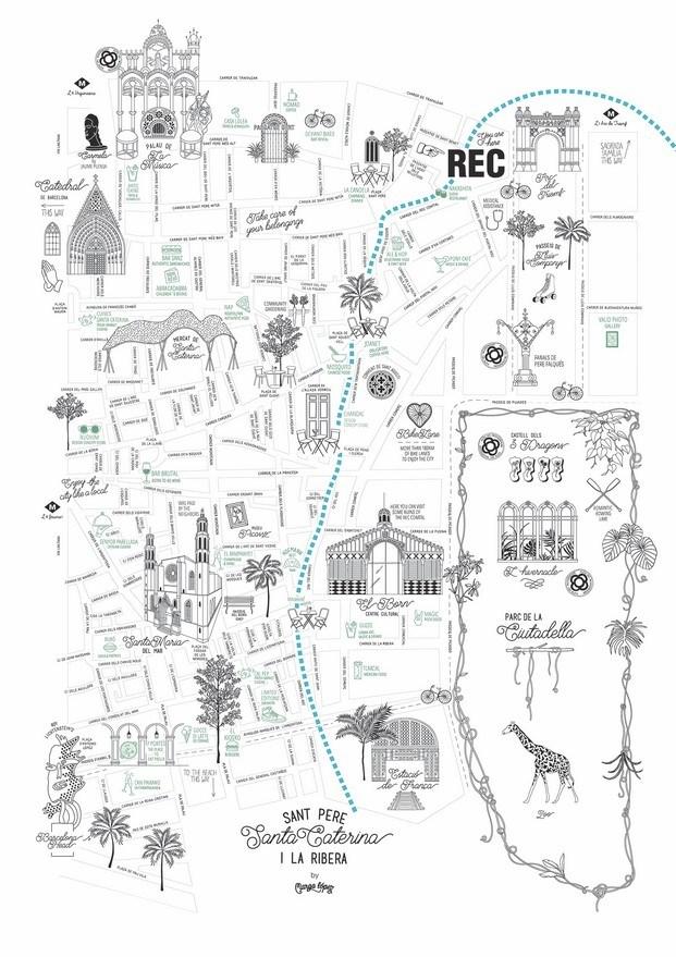 mapa de Marga López para hotel de diseño REC barcelona diariodesign