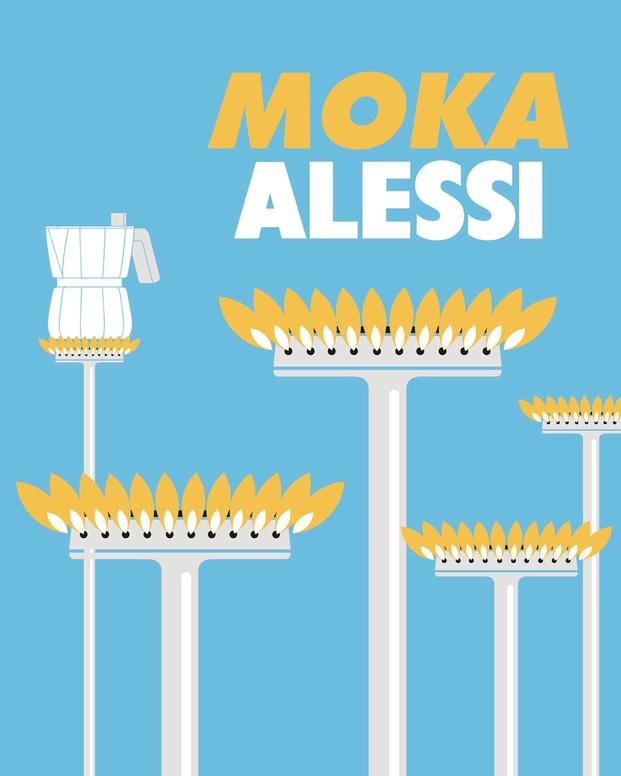 Cartel imagen gráfica Cafetera Moka de David Chipperfield para Alessi