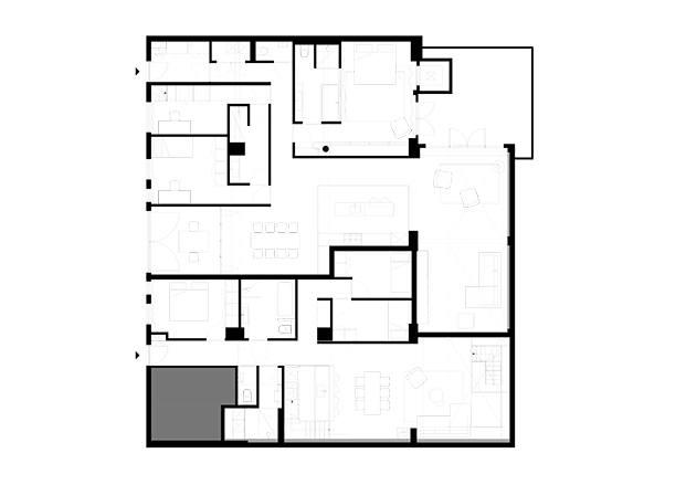 Planta de distribución del proyecto con las dos viviendas. Proyecto Home Sint Willibrordusstraat.