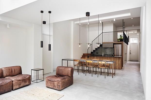 Zona de día. Salón, comedor, cocina.  Apartamento 2. Proyecto Home Sint Willibrordusstraat.
