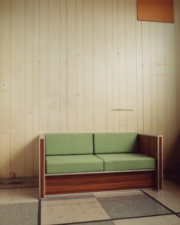 Rail Car Laminate Loveseat w Green Vinyl, 2018 copyright Andrew Jacobs