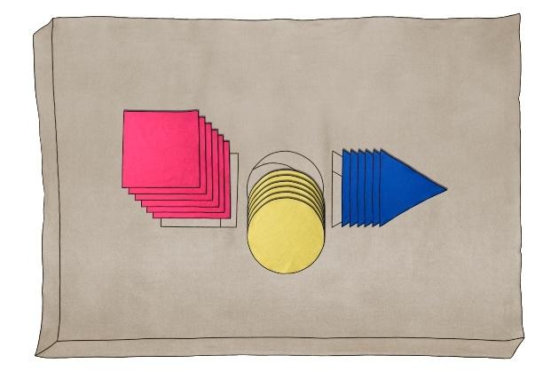 mantel bauhaus guillermo mora triángulo azul círculo amarillo cuadrado rojo