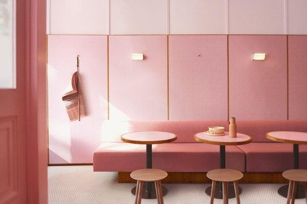 millennial pink en pizzería en londres diariodesign