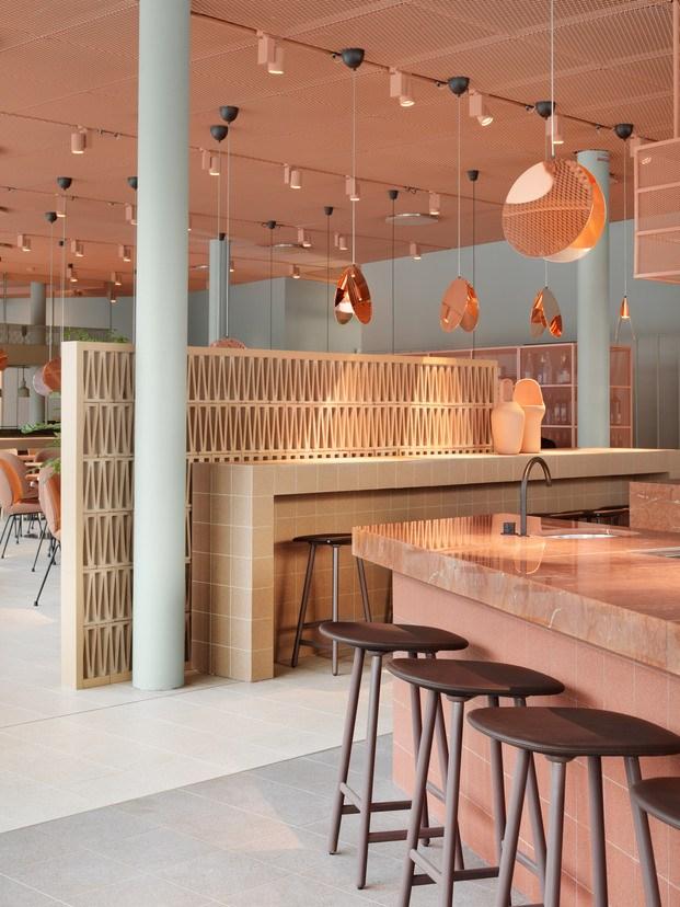 Grow Hotel Estocolmo. Note Design Studio. Restaurante color melocotón