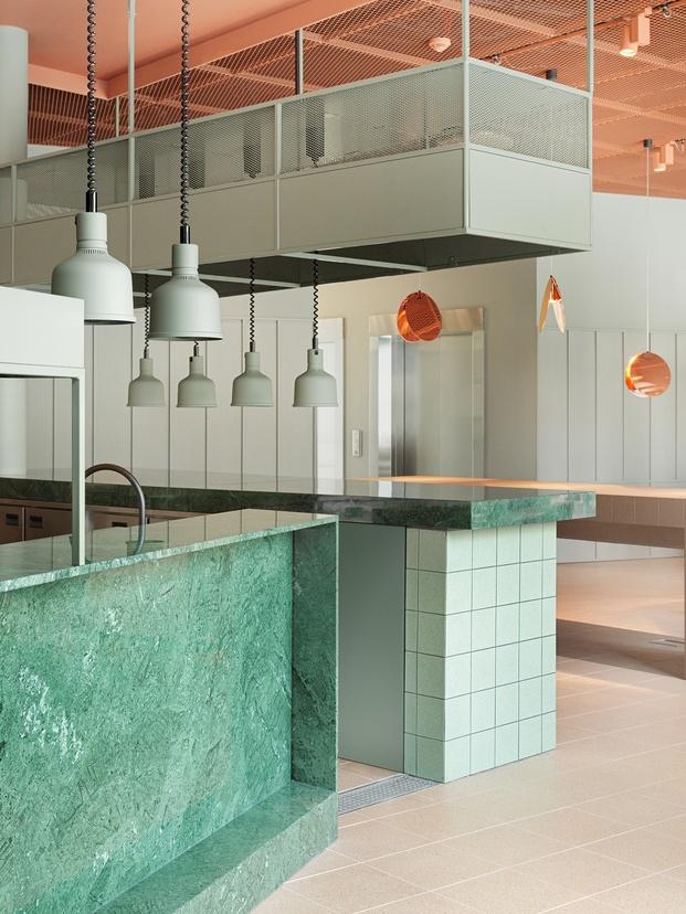 Grow Hotel Estocolmo. Note Design Studio. Restaurante mármol verde