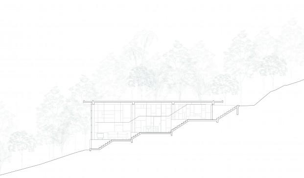 Sección constructiva de las escaleras casa biblioteca diariodesign