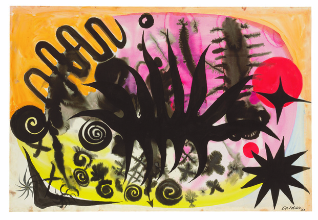 Cuadro de Alexander Calder técnica gounache