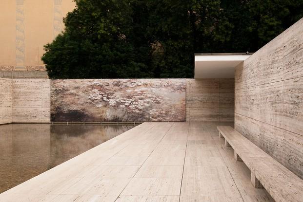 Fotografía Michael Wessely Nenúfares en Pabellón Mies Van Der Rohe Barcelona