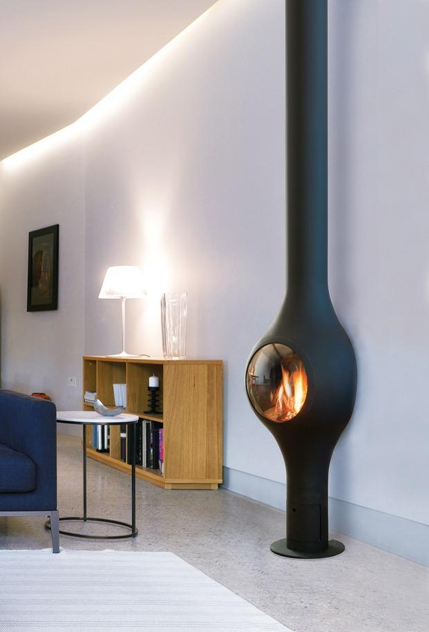 Chimenea de diseño moderno, de pared