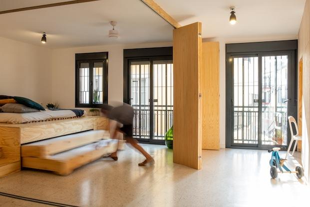 mueble a medida 3 camas vivienda flexible