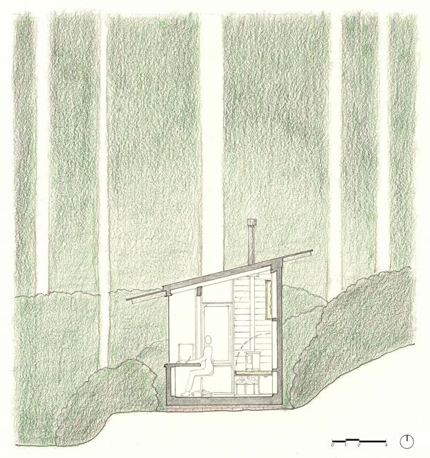 dibujo barraca en el bosque