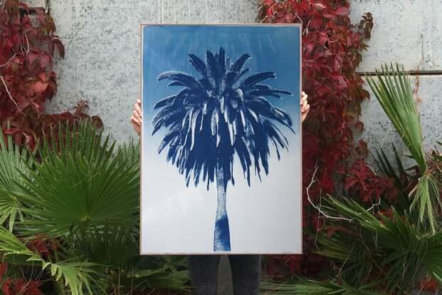 Cuadro con palmera azul. Design Market Barcelona 2019