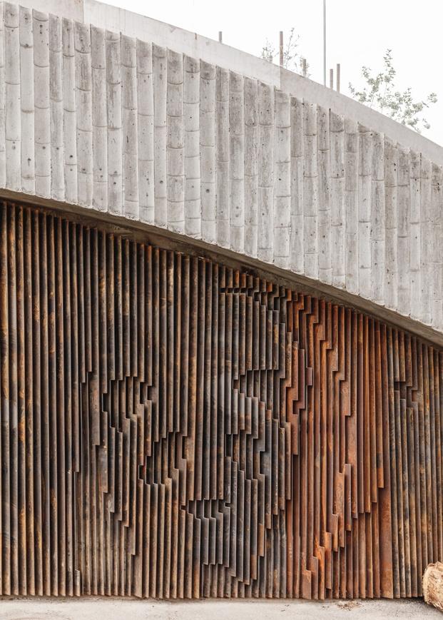Casa Panda diseñada por BIG para los pandas gigantes Mao Sun y Xing E del zoo de Copenhague. Silueta pared