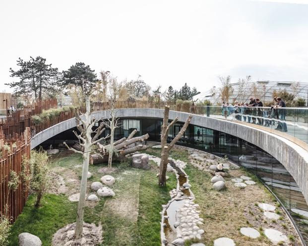 Casa Panda diseñada por BIG para los pandas gigantes Mao Sun y Xing E del zoo de Copenhague