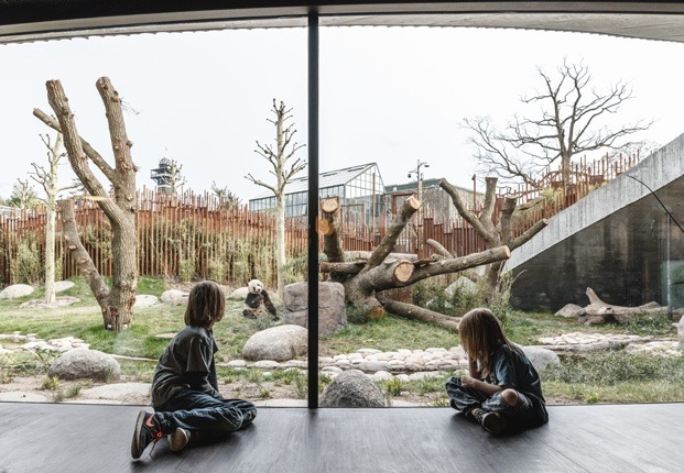 Casa de los pandas gigantes en el zoo de Copenhage
