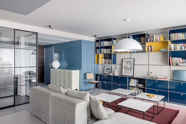 interiorismo azul vivienda en pekín