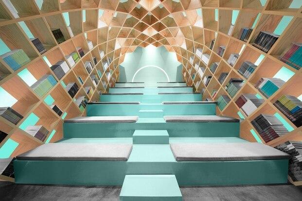 Biblioteca bajo una gran bóveda en Méxito. Conarte