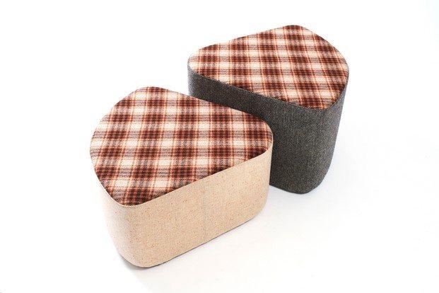 pouf ondarreta color gris y tweed