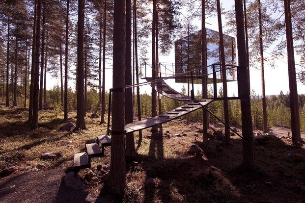 Treehotel Suecia. Cabaña árboles. Cube