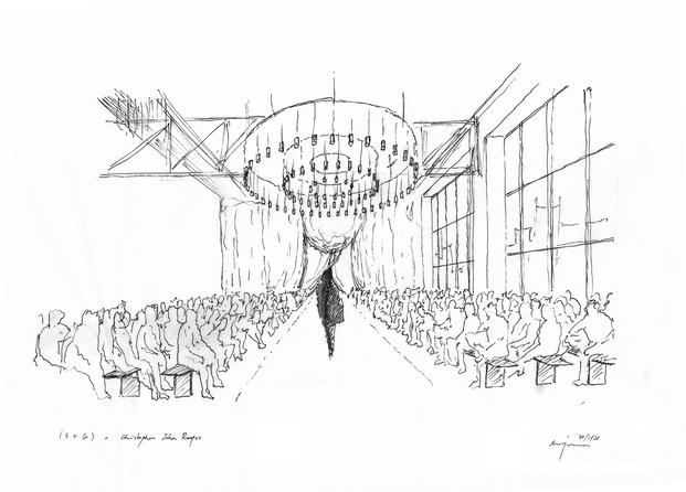 Desfile Christopher John Rogers. Escenografía de Sauras + Garriga. Boceto