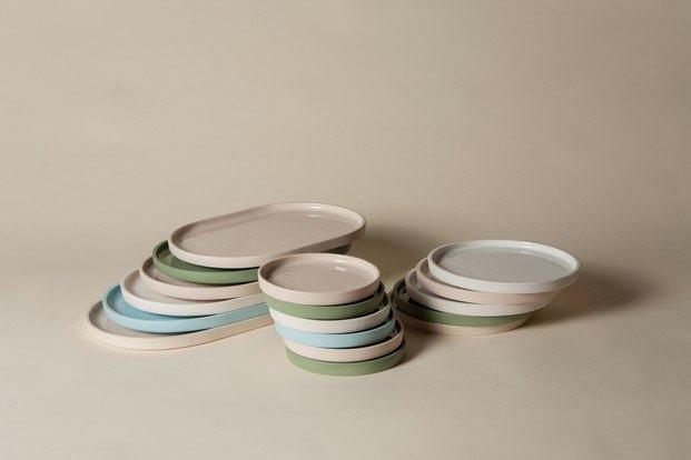 platos de porcelana colores diseño perezochando