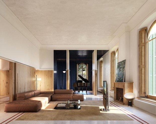salón con mueble de madera diseñado por mesura en can llimona