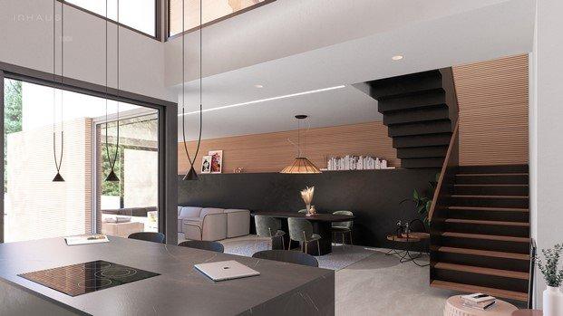 cocina y escalera casa modular de diseño yonoh