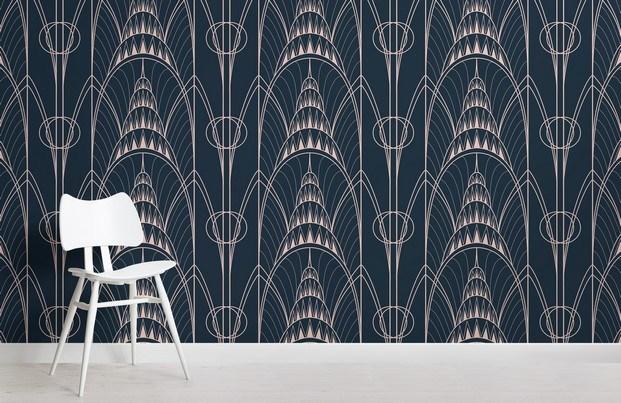 murals wallpaper corona del edificio chrysler en azul marino