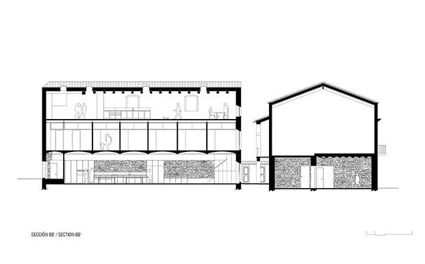planos del edificio original de la fábrica de chocolate y su anexo