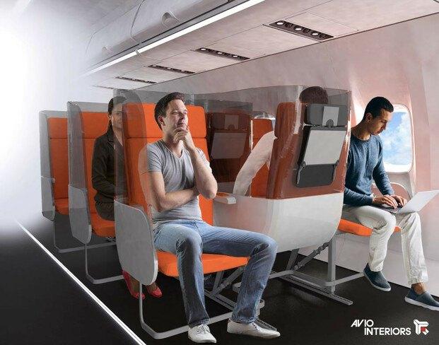 Asientos avión distanciamiento social. Aviointeriors