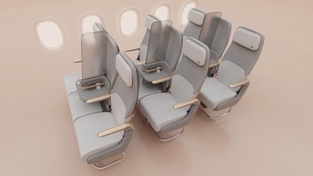 Asientos avión con separación social Factorydesign