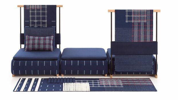 Biombo azul sofá y alfombra. LAN. Neri&HU. GAN