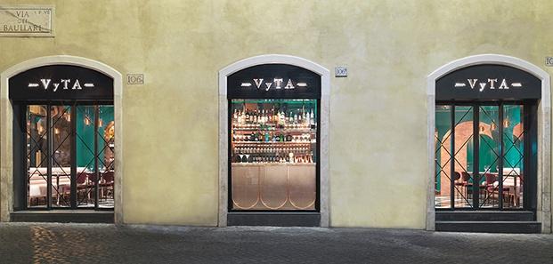 Fachada del cafe VyTA Farnese en Roma
