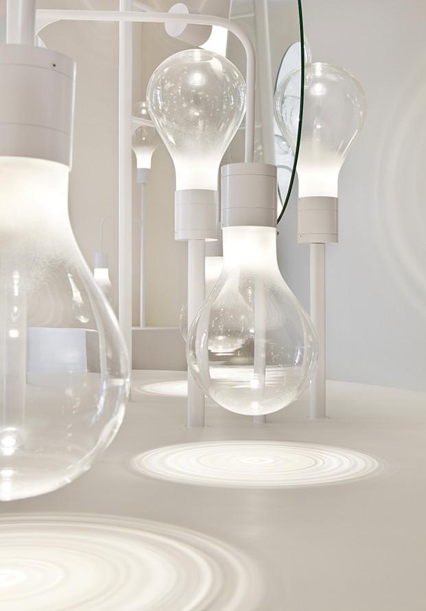 Detalle de las lámparas de vidrio soplado