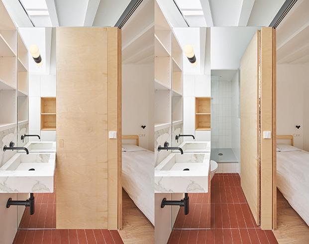 Más detalles del baño del dormitorio principal de la casa Akari