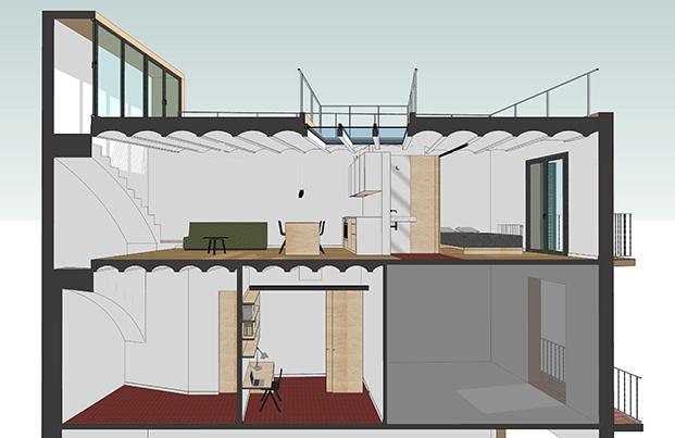 Detalles de los planos de los arquitectos del estudio Mas-aqui