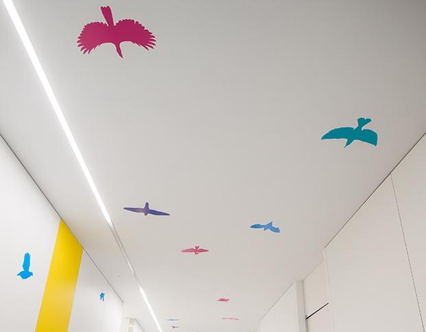 Vista del techo y parte alta de las paredes de un pasillo con vinilos de diferentes colores y forma de pájaros volando. Fondo blanco y figuras de color rosa, magenta, verde agua y azul.
