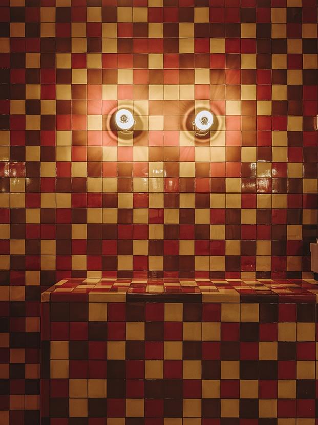 En la pared, discretos apliques de THPG ofrecen una luz puntual