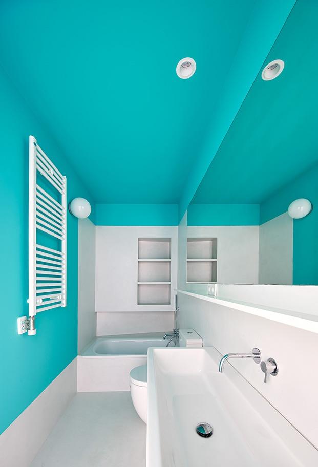 El color mint preside uno de los baños
