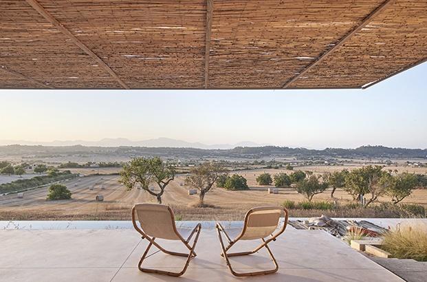 Vista desde la terraza de esta casa de vacaciones del campo mediterráneo de Mallorca