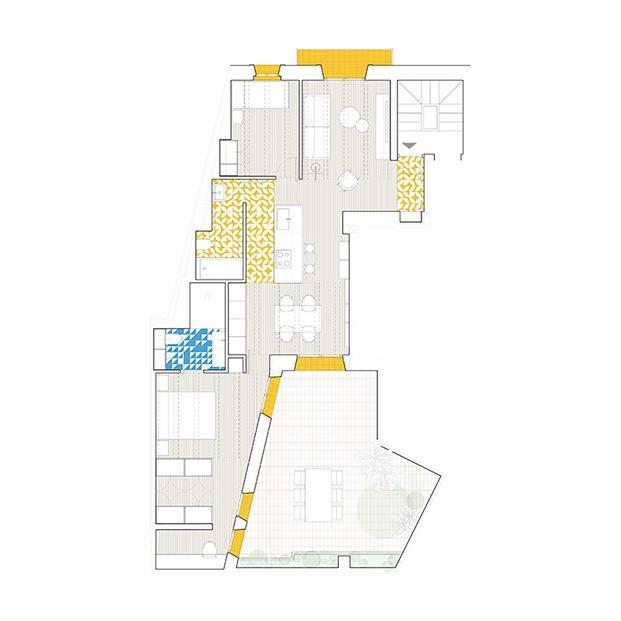 Planos de la vivienda centenaria en un edificio del barrio de EL Carme en el centro histórico de Valencia