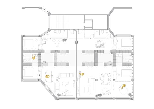 Plano del espacio de la oficina que se transformado en vivienda por el estudio de arquitectura Garmendia Cordero