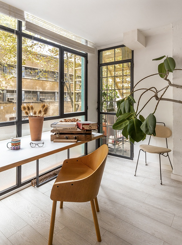 Luz y vegetación en el estudio de Alex March en Poblenou en Barcelona